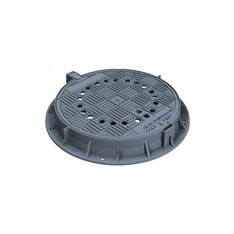 Чугунен капак Ø600 мм с панта, вентилиран, клас D400